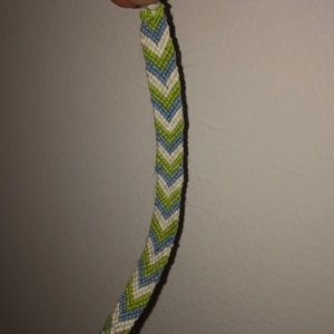 Green, blue, and white friendship bracelet!